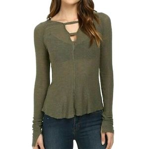 Intimately Free People Bae Bae Green Knit Top Sz S